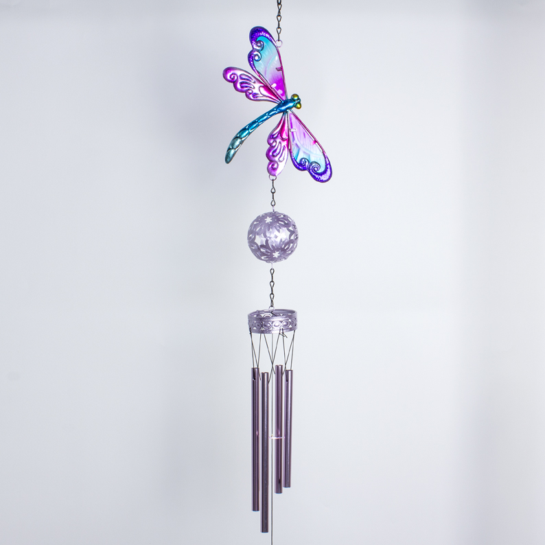 Wind chime Dragonfly Pink Tube Bells