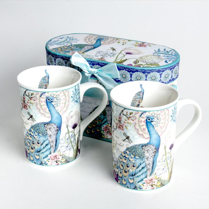Peacock Coffee Mug Set and Gift Box